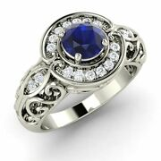 14k White Gold Antique Look Engagement Ring Certified Sapphire And Diamond-0.68 Ct