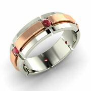 Menand039s 6 Mm Natural Ruby Wedding Ring / Band In Solid 14k White Gold Size 10.5