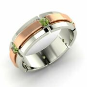 Menand039s 6 Mm Natural Peridot Wedding Ring / Band In Solid 10k White Gold Size 11.5