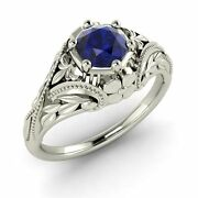 Certified Genuine Sapphire Vintage Style Engagement Ring 14k White Gold-1.01 Ct
