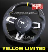 Yellow Limited Genuine Carbon Nappa Leather Steering Wheel For Ford Mustang 18+