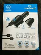 Naztech 3-in-1 Dual Usb Mfi Lightning 2.4a Car Charger And Wall Charger - Black