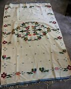 Vintage Hand Woven Mexican Wool Multi Color Textile Serape Blanket 45 X 77