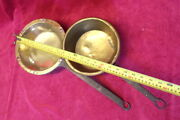 2 Vintage Antique Brass Fire Side Pan Iron Handle - Brass Pan Copper Hammered