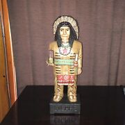 John Gallagher Carved Wooden Cigar Store Indian 6 Ft. Statue Knife