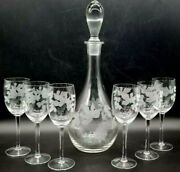 7pc. Vtg. Wine Champaign Flutes And Decanter Clear Etched Glasses Crystal Grapes