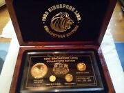 1993 Singapore Lion Lunar Rooster 4 Coin Proof Gold Set. Limited Edition To 500
