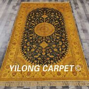 Yilong 5and039x8and039 Hand Knotted Silk Rug Golden Antique Wash Oriental Carpet G51c