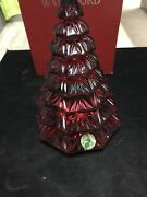 Waterford Crystal Red Christmas Tree Sculpture 6.5 H New Made In Germany