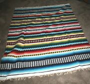 Vintage Hand Weaved 1950and039s Multi Color Mexican Serape Saltillo Camp Blanket