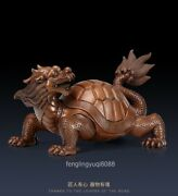 Red Copper Longevity China Wealth Fengshui Animal Dragon Tortoise Turtle Statue