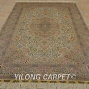 Yilong 5and039x8and039 Handknotted Silk Carpet Home Interior Antique Oriental Rug 1029