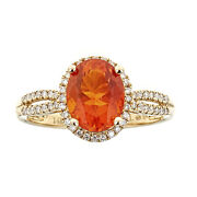 Gin And Grace 14k Yellow Gold Oval-cut Natural Fire Opal And Diamond Ring Size 6,7,8
