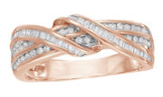 1/3 Ct Natural Diamond 10k Rose Gold Double Ribbon Wrappe Engagement Ring