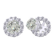 10k Solid White Gold 4 Ct Genuine Moissanite Prong Studs And Earrings Halo Jackets