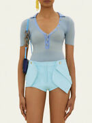 New Jacquemus Boca Leather Light Blue Shorts Size 38 Runway Ss2020 - Sold Out