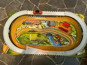 Rare 1950and039s Cross Country Turnpike Set Car Races Around Track New Metal/tinl