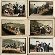 French Watercolors Set Of 6 France 1885
