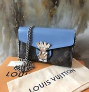 Limited Ed. Louis Vuitton Tribal Mask Monogram Blue Wallet On Chain
