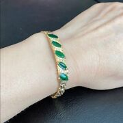 Small 14k Solid Real Yellow Gold Marquise Green Jade Bracelet - B145 - 6 Inches
