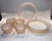 """Vintage Fire King 450, 460 Peach Luster Pie Dish, 8"""" Round And 8 Custard Cups 6 Oz"""