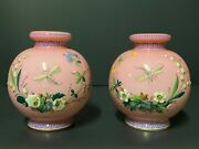 A Pair Of Opaque, Round, Gilded And Painted Pink Cameo Glass Opaline Vases