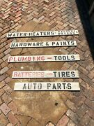 Vintage Hardware Store Signs Wood Isle Marker Hand Painted Louisiana