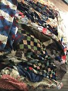 Vintage Quilt Large Lot Late 19th-early 20th Turn Of Century Hand Cut Stitched