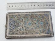 Antique Hand Made Niello Silver Inlay Cigarette Case 204gr Stamped