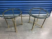 Labarge Midcentury Hollywood Regency Brass And Glass Hooved Feet Side Table Pair