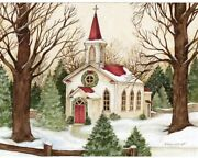 Lang Deluxe Boxed Holiday Cards Woodland Church Christmas Village New England
