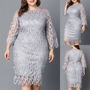 L-6xl Plus-size Womenand039s Lace Full Dress Half Sleeve Dinner Party Evening Gown