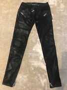 Philipp Plein Couture Black Leather Effect Jeggings Size Xs