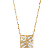 John Hardy Modern Chain Square Pendant Necklace In 18k Yellow Gold With Diamonds