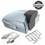 Advanblack Brilliant Silver Chopped Tour Pack Luggage For 97-20 Harley Touring