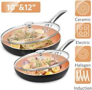 Ultra Nonstick Frying Pan Stainless Steel Cookware Sets With Ceramic Coating Lid