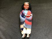 Vintage Skookum Indian Doll Bully Good Native American Indian W/ Necklace