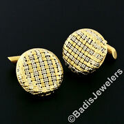 Vintage Menand039s Solid 18k Yellow And White Gold Round Basket Weave Cufflinks Links