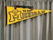 Vintage Michigan Wolverines Go Blue College Ncaa Full Size Pennant 29.5 X 12