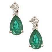 Gin And Grace 14k White Gold Pear-cut Natural Emerald And Diamond Earrings