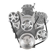 Chevy Sbc 350 Aluminum Serpentine Complete Engine Pulley Kit [polished]