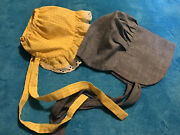 Vintage Baby Or Large Doll Bonnets Hats Lot Of 2 Yellow Gingham Chambray Childs