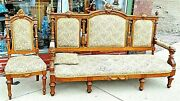 Victorian Antique Walnut Ornate Lion Cat Face Motif Sofa Settee Couch And Chair