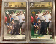 Lot Of 2 2002 Upper Deck Tiger Woods 1 Base And Silver - Bgs 10 Pristine