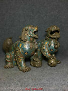 11.8 Chinese Old Antique Natural Cloisonne Hand Carved Liona Pair Statue