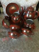 Vintage Dragon Red Rust Sterling Inlay Hand Painted Mm Nippon Tea 12 Pc Set