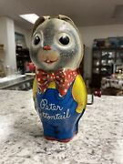 Antique 1953 Peter Cottontail Tin Litho Toy By Mattel Read