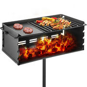 Park-style Camping Outdoor 25x17 Steel Bbq Charcoal Grill W/ Cooking Grate