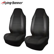 2pcs 2 Front Universal Seat Covers Black Carbon Leather Fit Car With Arm Rest