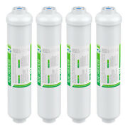 4 Pack Inline Post Carbon Water Filter Purifier Quick Connect 1/4 T33 10 X 2